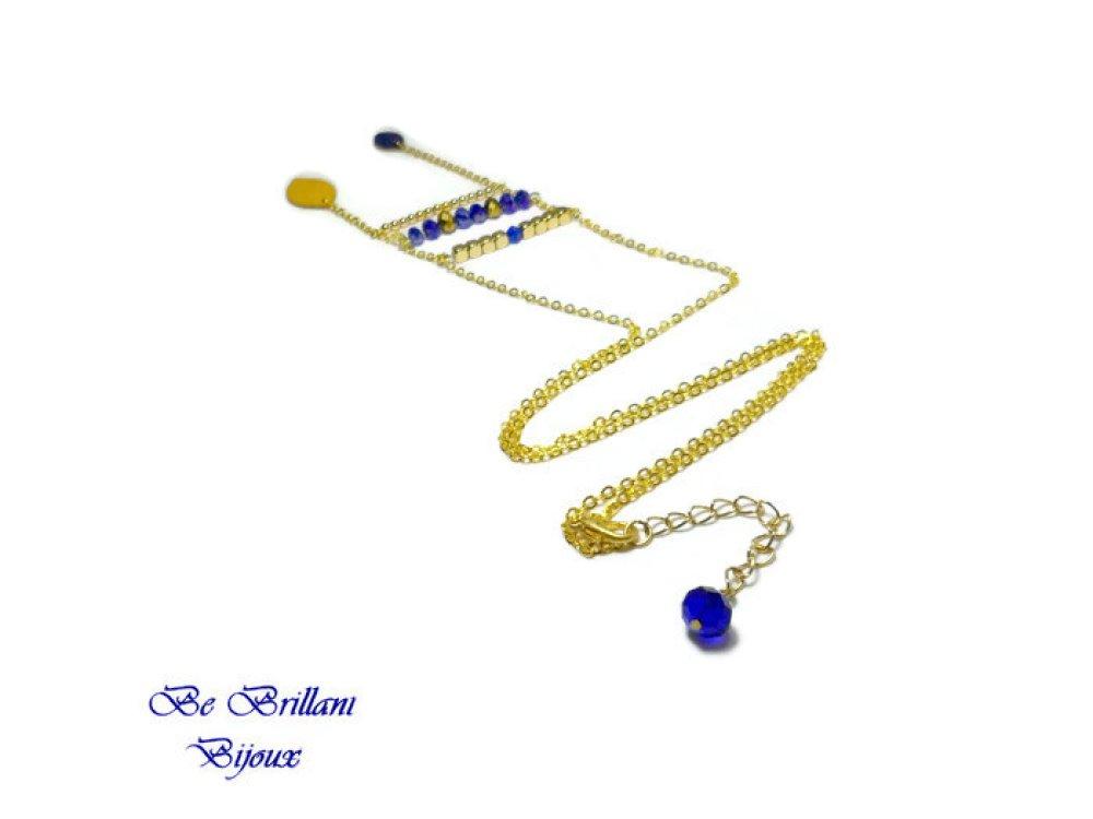 Sautoir en cuir feuille, jaune moutarde, bleu roi, laiton, bijoux fait main, collier, cadeau pour femme, original