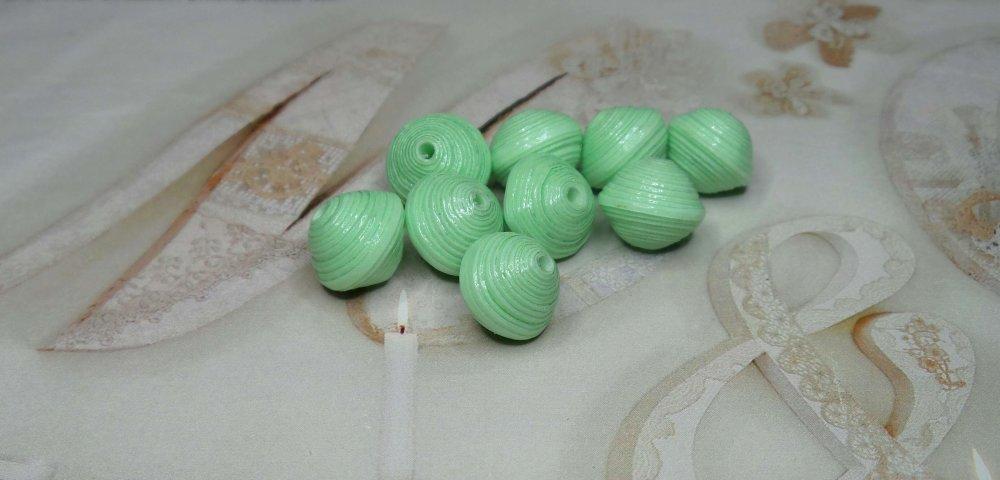 Perles de Papier, Fait Main,Création de Bijoux.Vert Dragée.