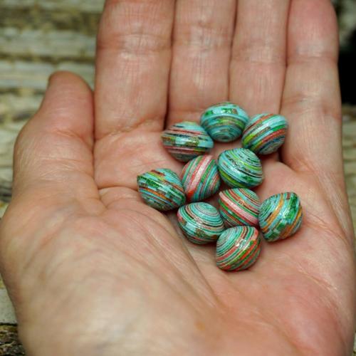 Perles de papier, romane , fait main,lot de 10 perles