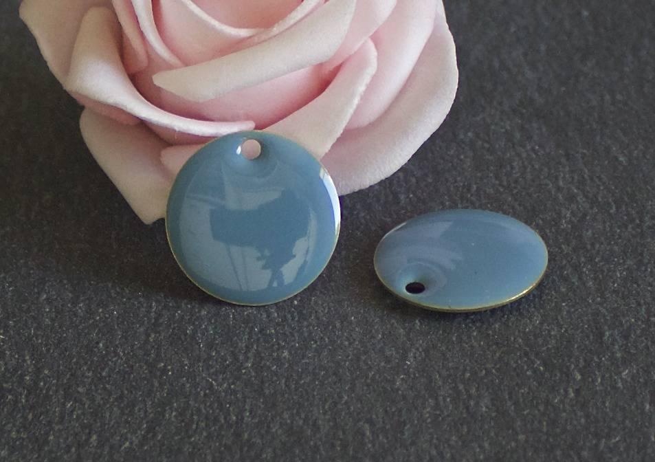 x2 sequins ronds émaillés deux faces de 18 mm coloris bleu SEQ68
