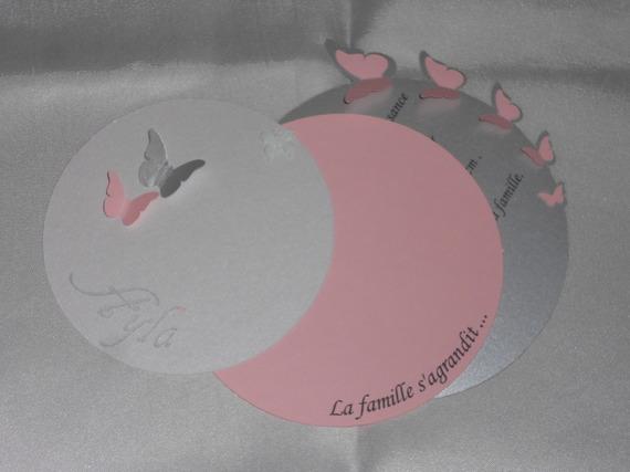 faire-part naissance fille avec papillons rond(modele Ayla), cercle concentriques personnalisable .