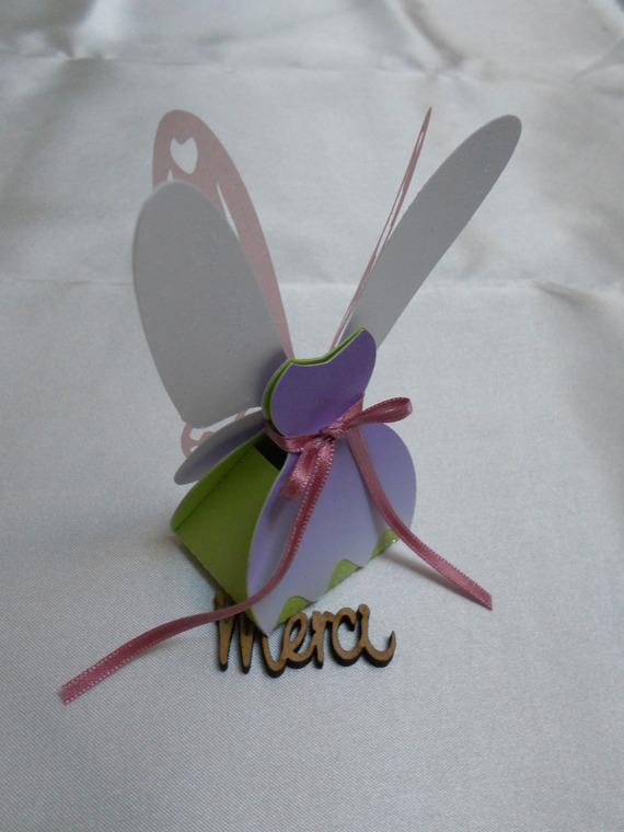 ballotins dragées fée, ailes en 3 dimensions, violet dégradé et vert anis