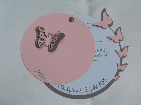 faire-part rond papillons (modéle Anna), cercles concentrique personnalisable Baptéme, Naissance