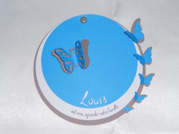 faire-part rond garçon papillons (modéle Louis), cercles concentrique personnalisable Baptéme, Naissance