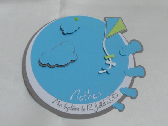 faire-part baptême cerf-volant et nuage (modéle Nathan) Naissance