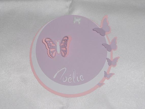faire-parts rond papillons (modéle Noélie) 3 dimensions et ciselés, cercles concentrique personnalisable Baptéme, Naissance