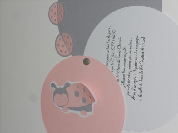 faire-part rond coccinelle (modéle Charline), cercles concentrique personnalisable Baptéme, Naissance