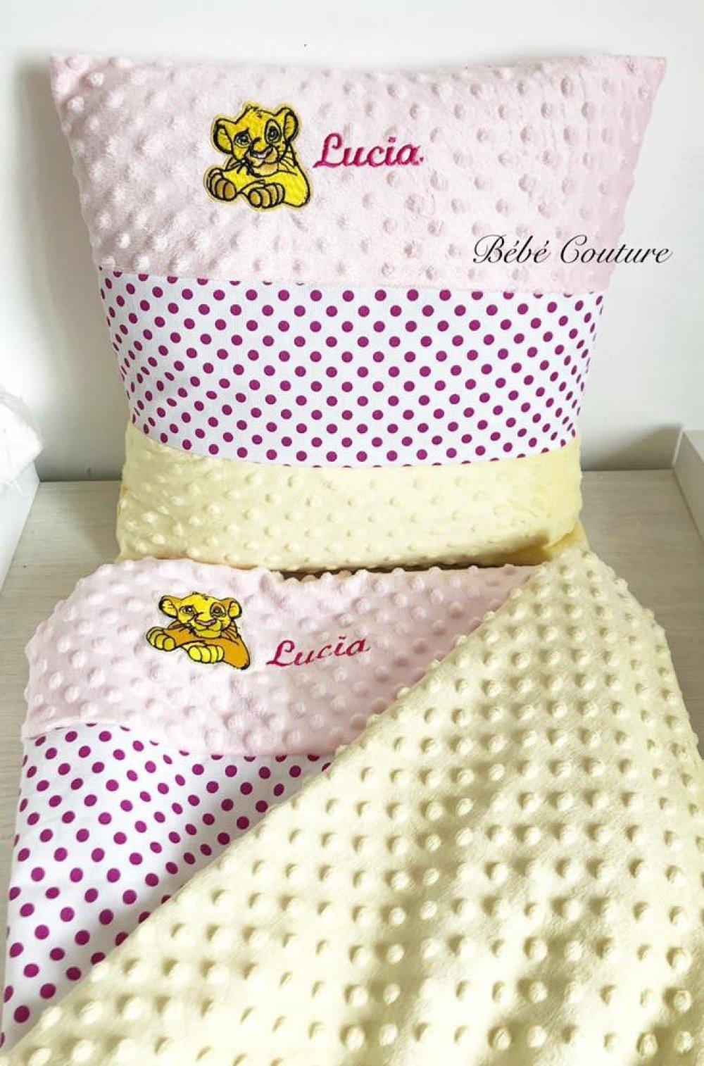 Taie D Oreiller A Personnaliser ❤️ ensemble sieste maternelle roi lion plaid+taie d'oreiller jaune à  personnaliser