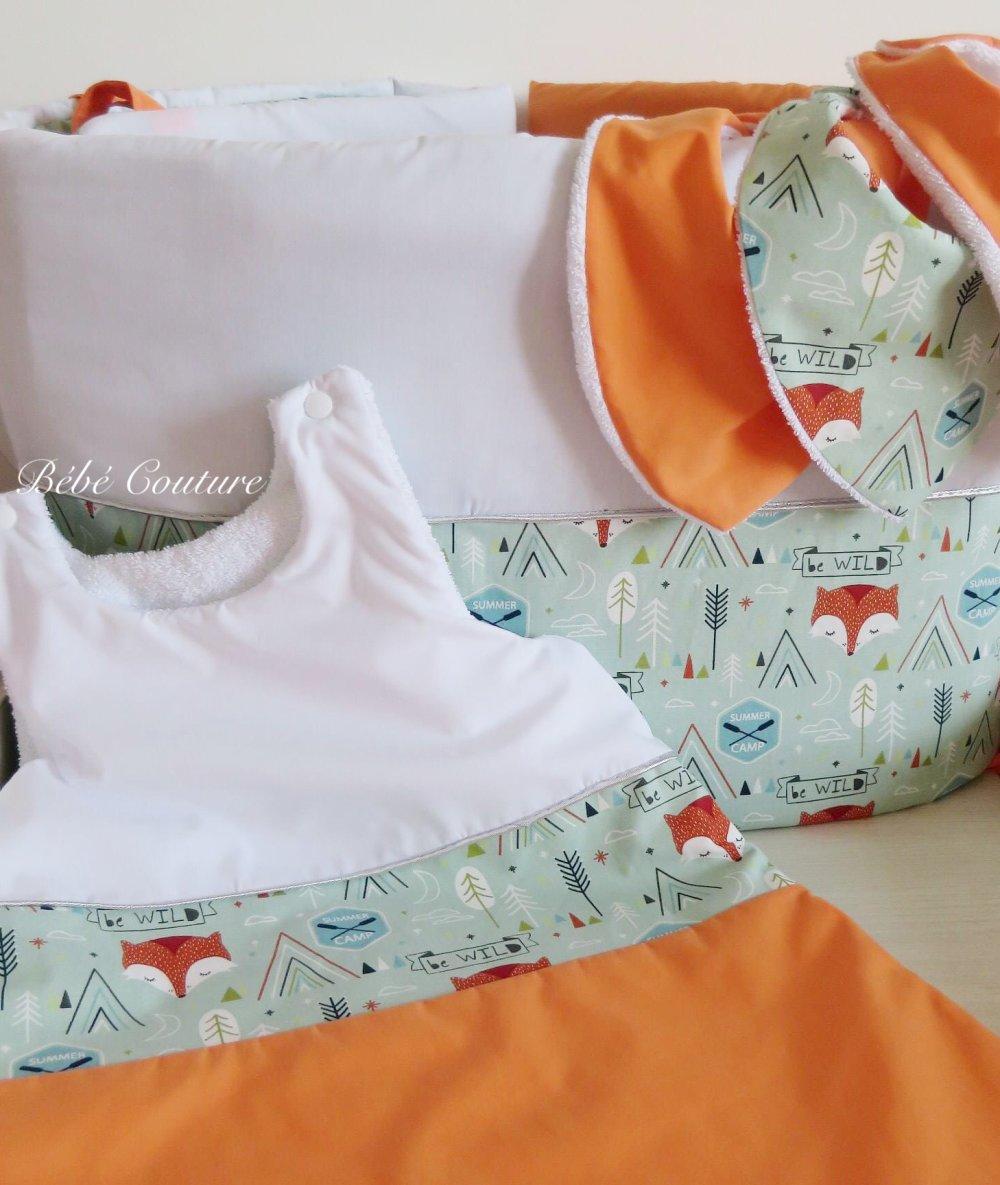 Chambre mixte renard vert d'eau/orange/blanc