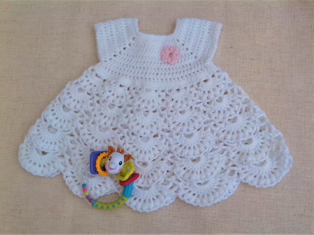 Robe Bébé Blanche 3 Mois Au Crochet Cérémonie Baptême Mariage Communion Cadeau Naissance