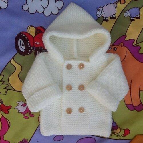 Manteau à capuche écru, paletot bébé laine tricot