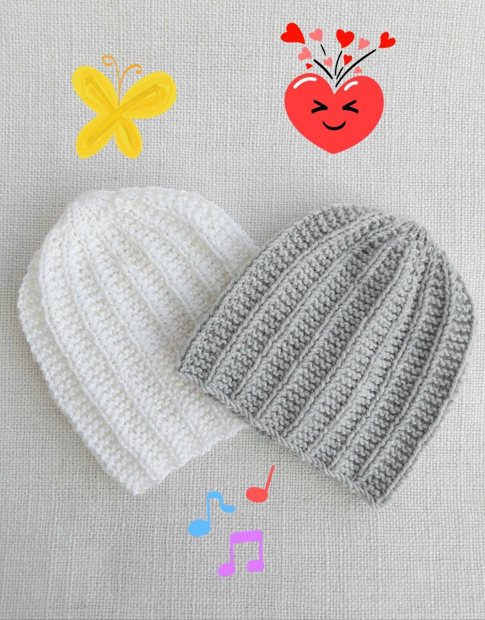 bonnet bébé tricot, 0/1 mois, gris ou blanc
