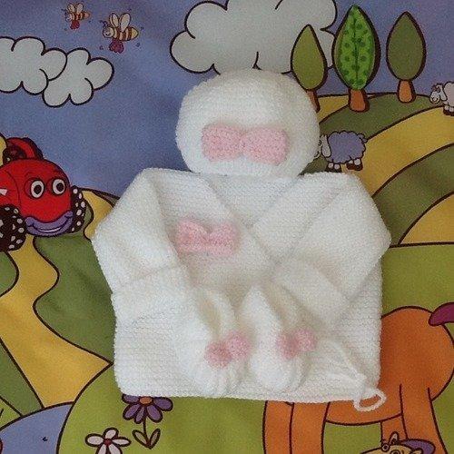 Brassière bébé bonnet chaussons tricot laine layette cadeau naissance