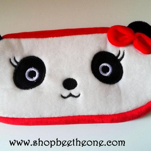 Trousse de rangement plate kawaii panda noeud rouge