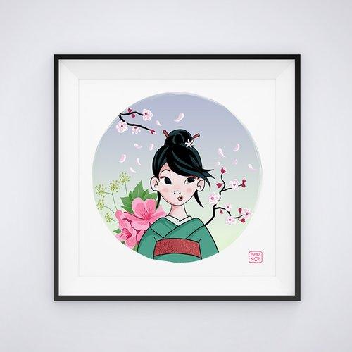Illustration jeune fille japonaise 21 x 21 cm