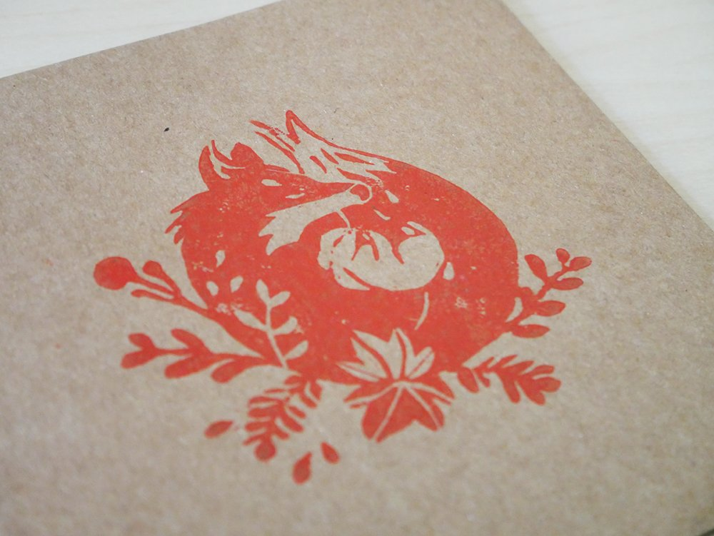 Carte kraft Linogravure Renard