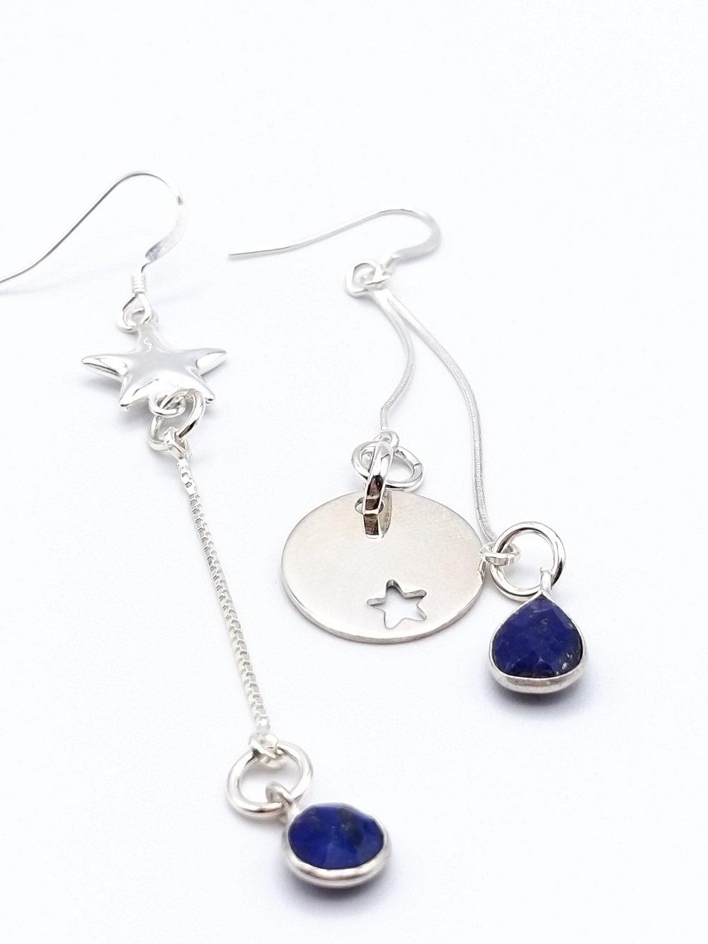 Boucles d'oreilles asymétriques Etoiles Lapis Lazuli