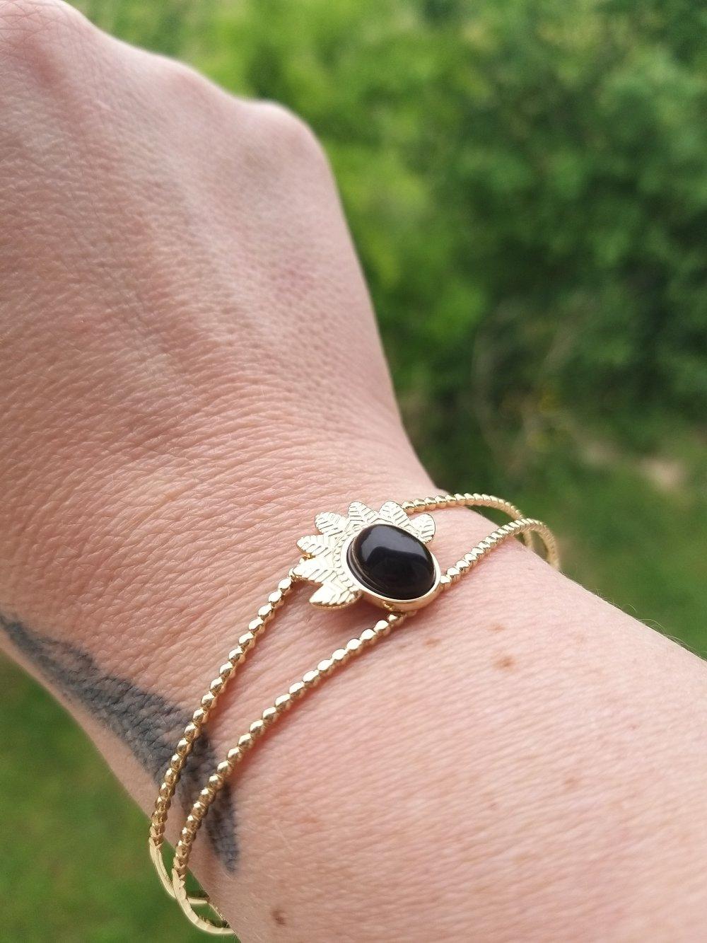 Bracelet jonc feuille doré