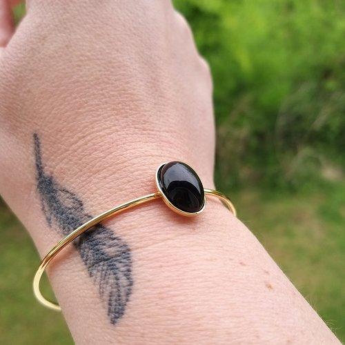 Bracelet jonc doré et pierre semi-précieuse agate noir