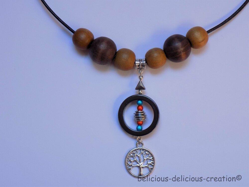 Original Collier Homme !! TREE OF LIFE !! en Cuir collier long 42cm pearl  hématite métallisées. belicious-delicious-creation