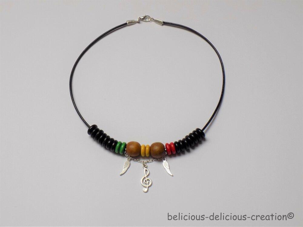 Original Collier homme ras du cou long 42cm !! SOLWINGS !! avec perles en bois marron vert rouge noir belicious-delicious-creation