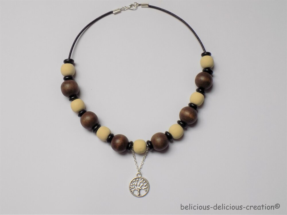 Original Collier homme ras du cou long 42cm !! THE LIFE TREE !! avec perles en bois marron beige belicious-delicious-creation