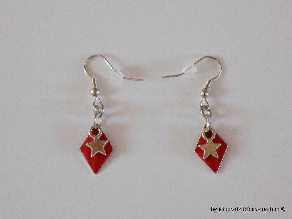 Original Boucles d'oreilles  pour homme !! DIAMOND STAR !! en metal argente 1cm X 3cm rouge belicious-delicious-creation