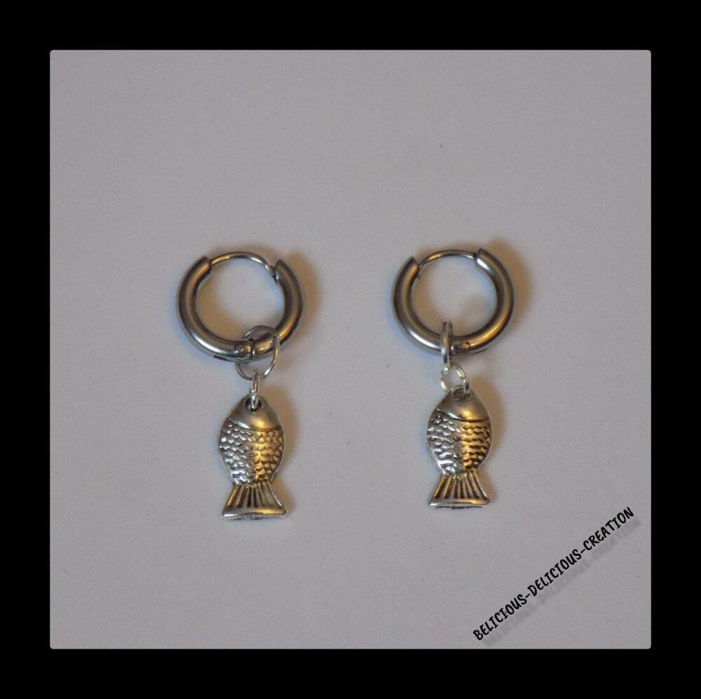 Original Boucles d'oreilles creole homme !! FISH !! en Matiere metal et Size 1cm x 3,cm belicious-delicious-creation
