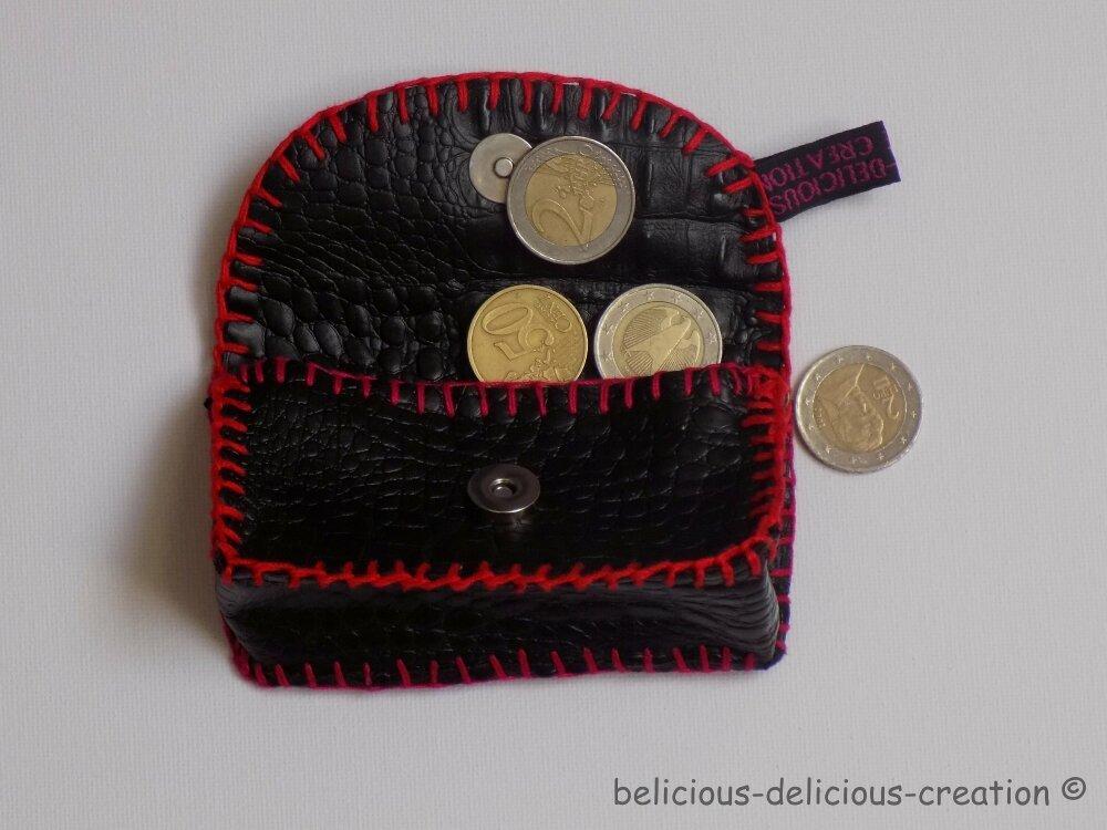 Original mini porte monnaie  !! CROCONOIR !! En Simili Cuir noir T: 10cm x 6cm x 3cm Belicious-Delicious-Creation