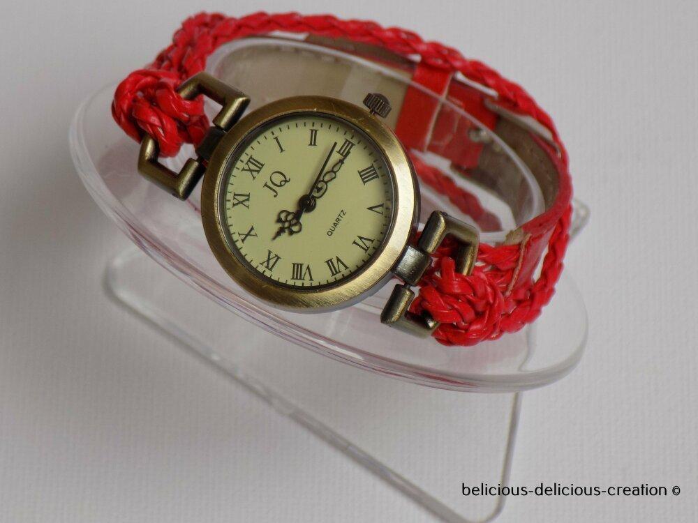 Original Bracelet montre tressé Femme !! TRACEY !! Rouge double tour de poignet en Simili cuir Taille long 18cm belicious-delicious-creation