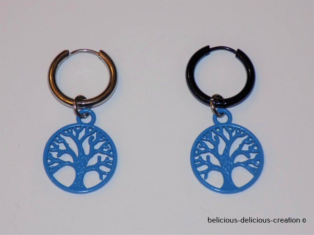 Original Boucles d'oreilles creole pour homme !! TREE BLUE !! Creole en Acier Inoxydable argente T:1.5cm X 4cm belicious-delicious-creation