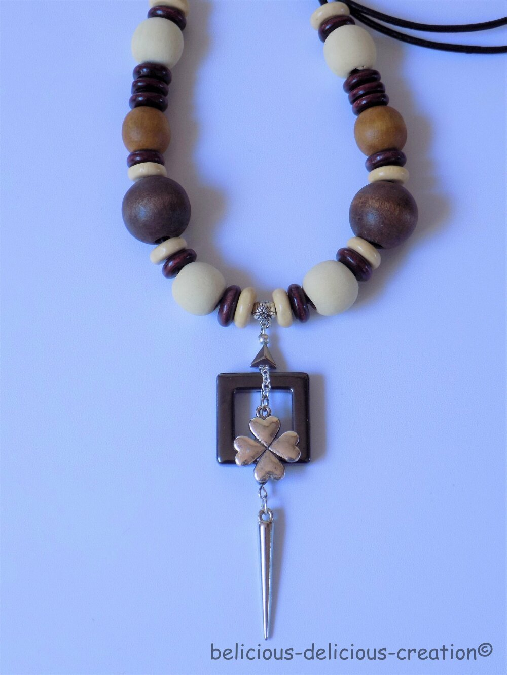 Original Collier homme  long 98cm !! LUCKY !! avec perles en bois marron beige belicious-delicious-creation