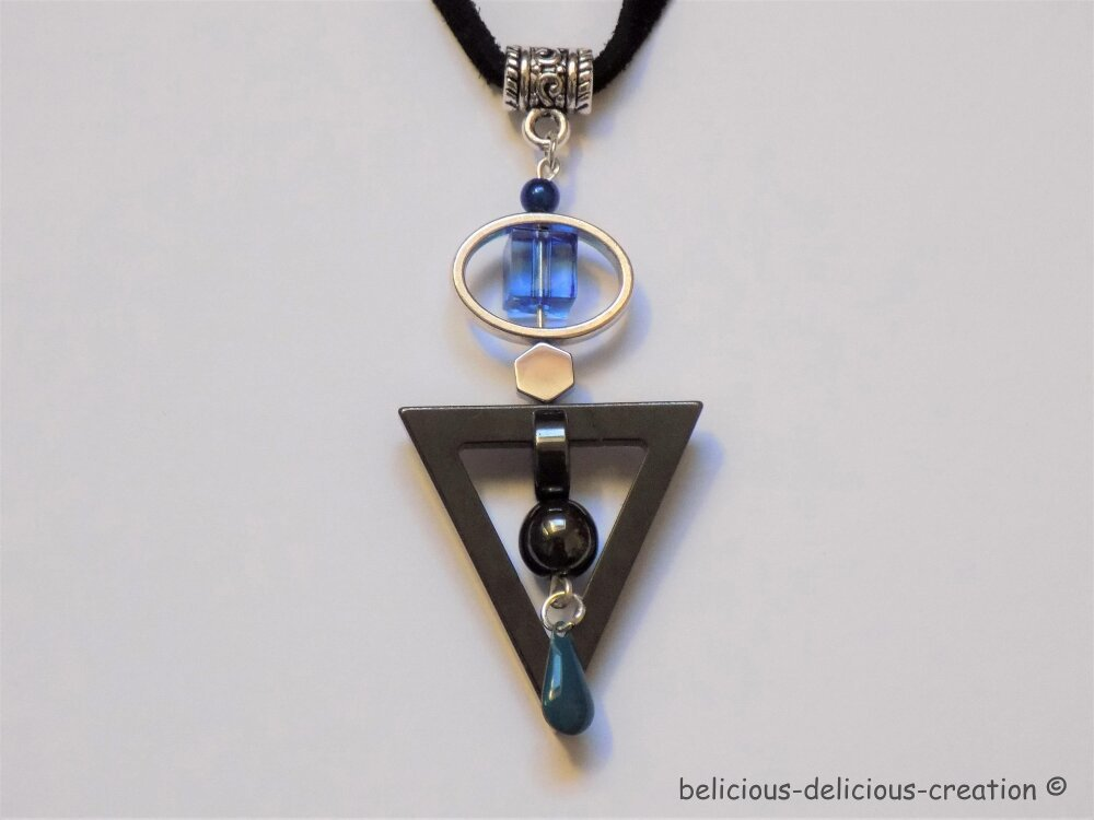 Original Collier Homme !! HEXITRIBLUE !! en Cuir collier long 51cm  hématite métallisées. belicious-delicious-creation