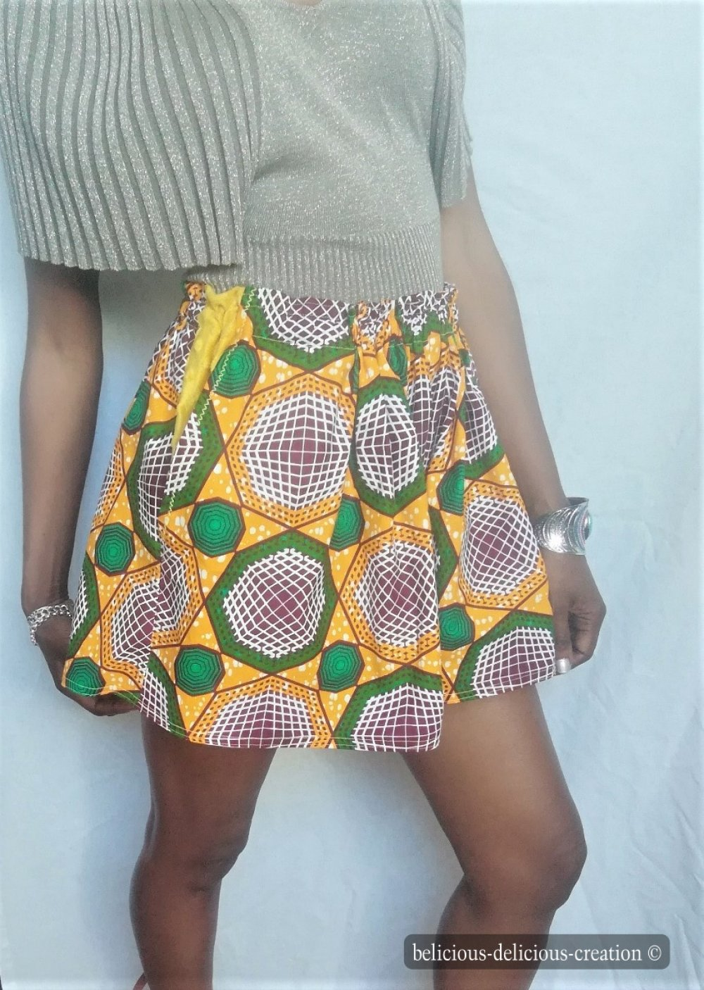 Originale Mini flared shorts !! ANKARAWAX !! en coton multicolore Taille 38/40/42 Long 40cm belicious-delicious-creation