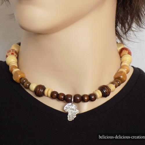 long collier perle bois homme