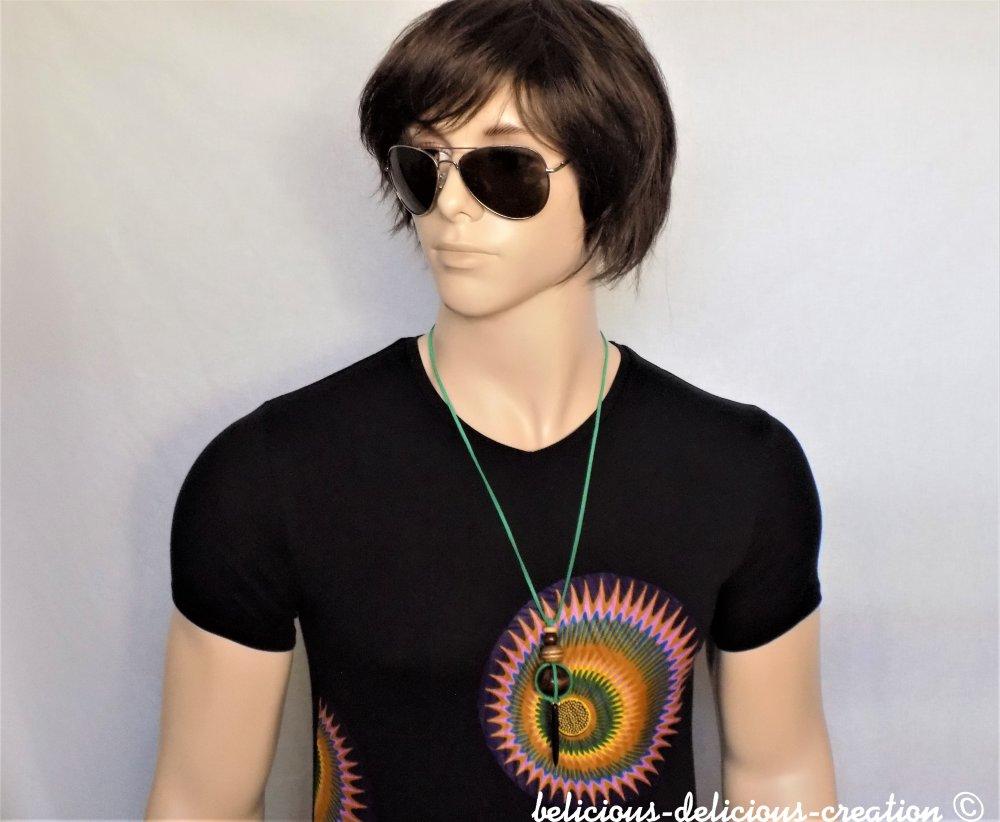 collier homme avec photo