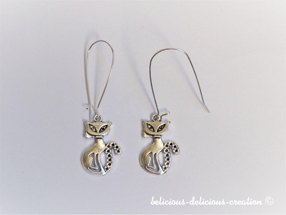 Original Boucles d'oreilles femme !! KITTY CAT !! pendant  en metal argente vieilli T:5.5cm Long belicious-delicious-creation