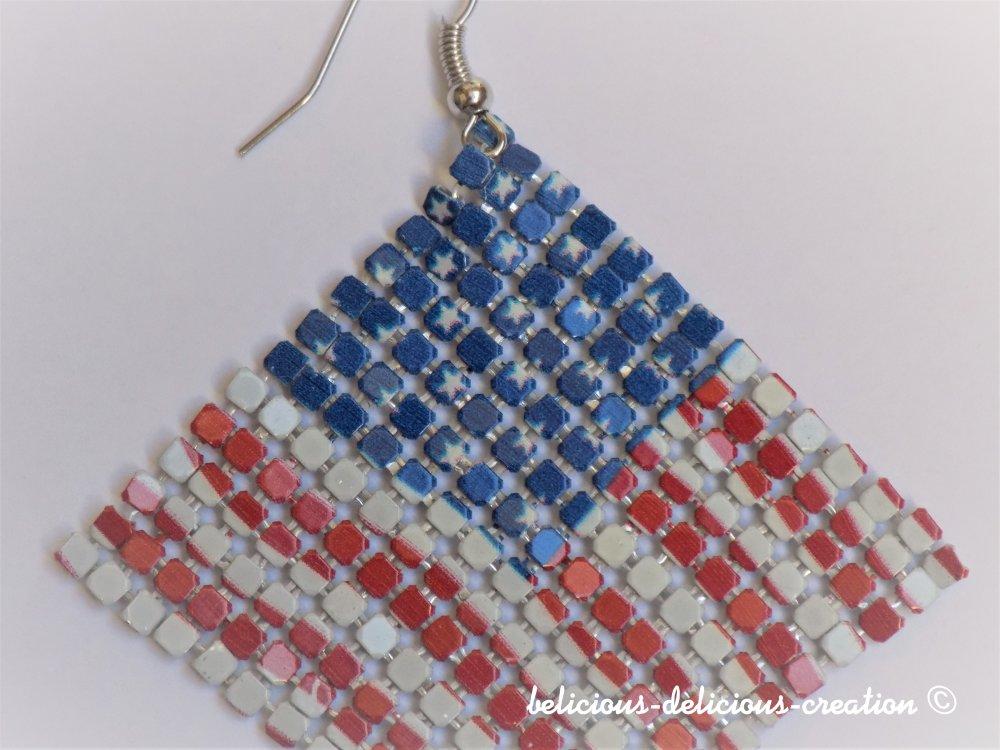 Boucles d'oreilles !! FLAG !! en Mailles, metal Multicolore T: 6cm long belicious-delicious-creation