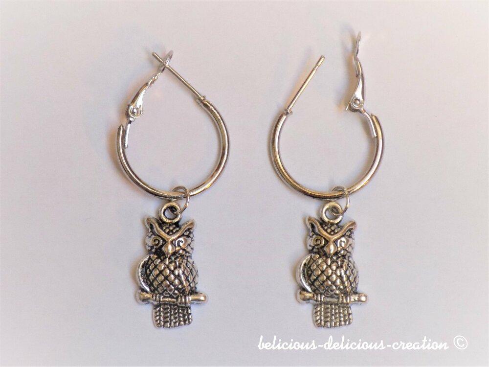 Original Boucles d'oreilles creole pour homme !! OWLY !! Creole en Matiere Acier Inoxydable argente T:2cm X 4cm belicious-delicious-creation