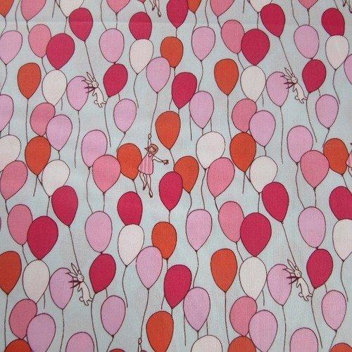 Tissu michael miller - ballons roses et rouges