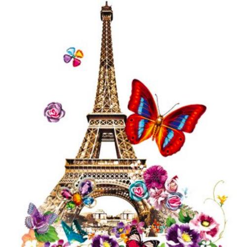 Thermocollant pour textile tour eiffel avec fleurs et papillons