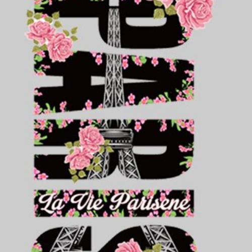 Thermocollant pour textile paris tour eiffel ornée de roses
