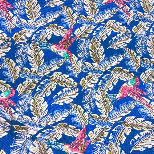 2 coupons de tissu d'ameublement bleu royal, motif ibis
