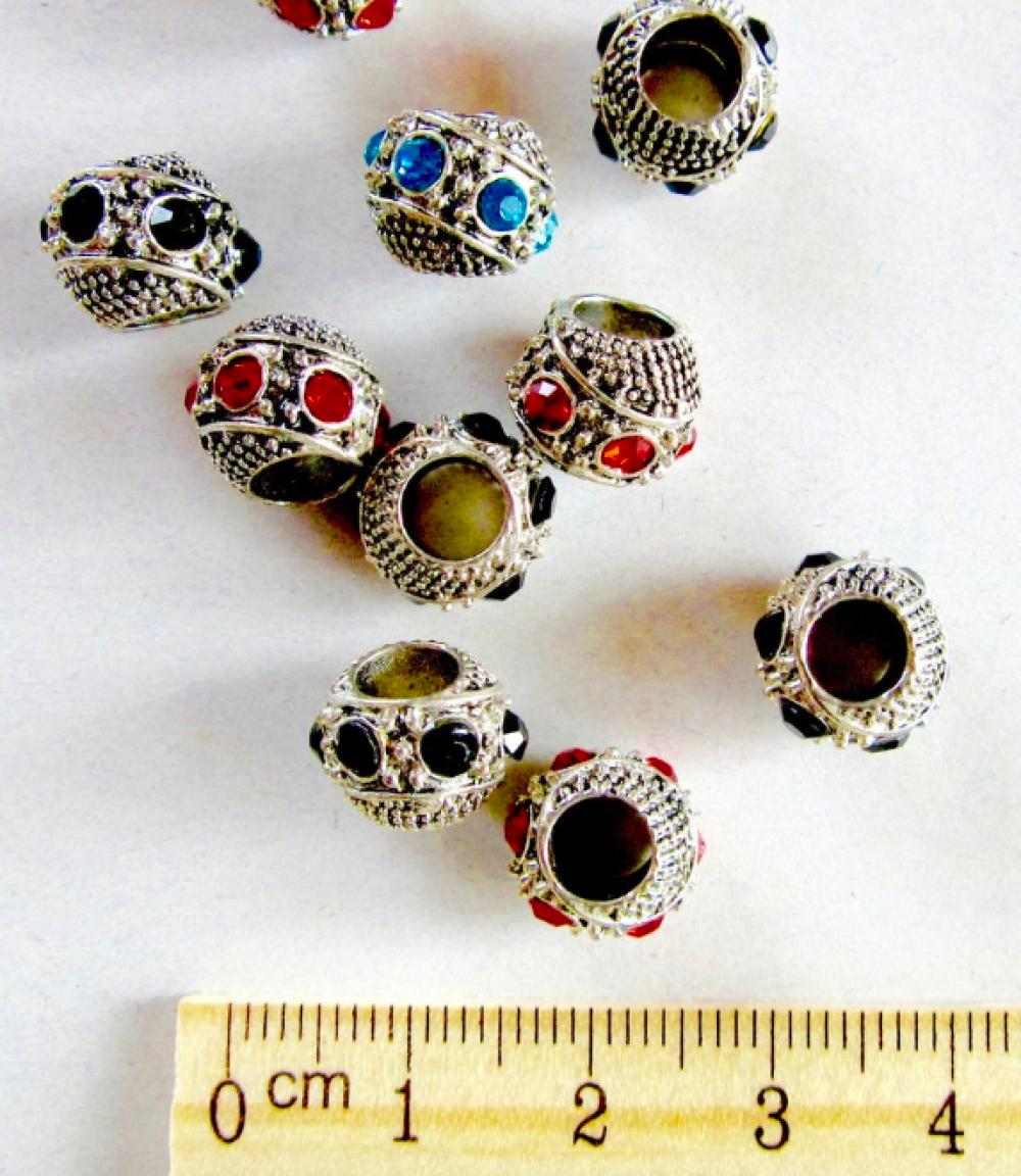 5 perles gros trou argent antique et strass