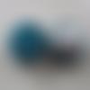 2 bouton recouverts de velours bleu canard - 22mm