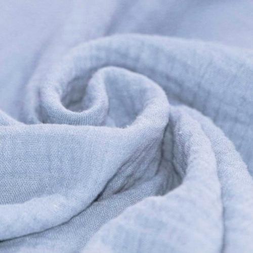 Tissu double gaze coton bleu clair - 50cm