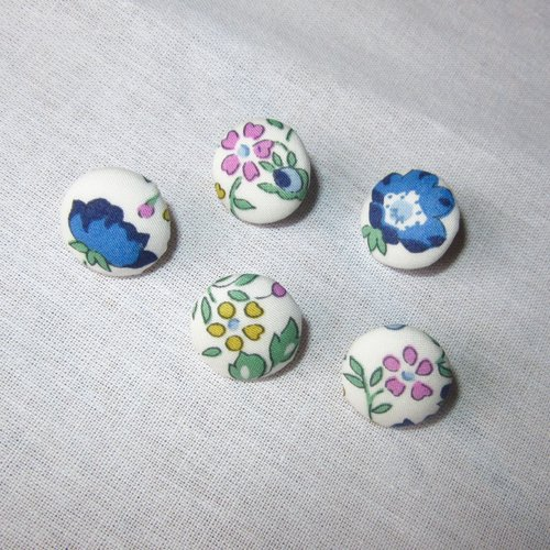 5 boutons recouverts de liberty of london - félicite