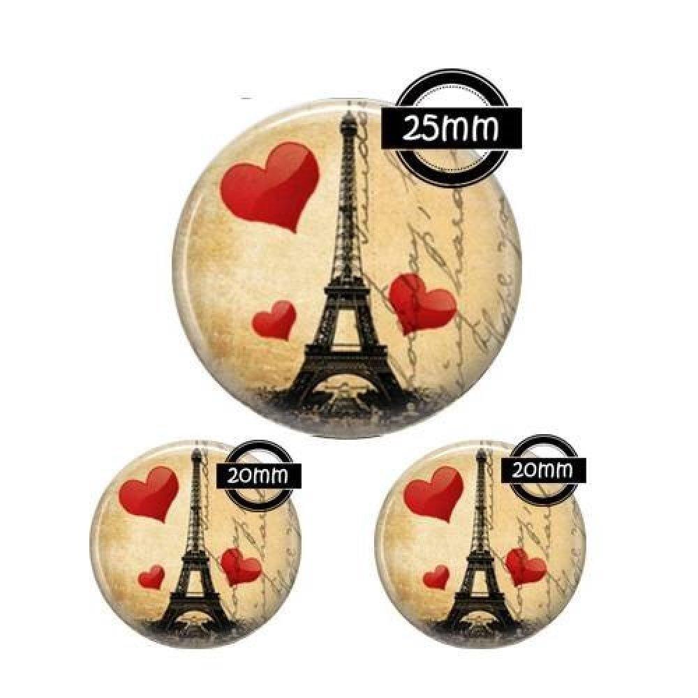Cabochon verre 25, 20 mm, Paris, rétro, vintage, ref:256