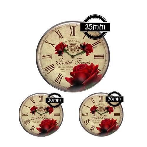 Cabochon verre 25, 20 mm, horloge, vintage, retro, ref: 855
