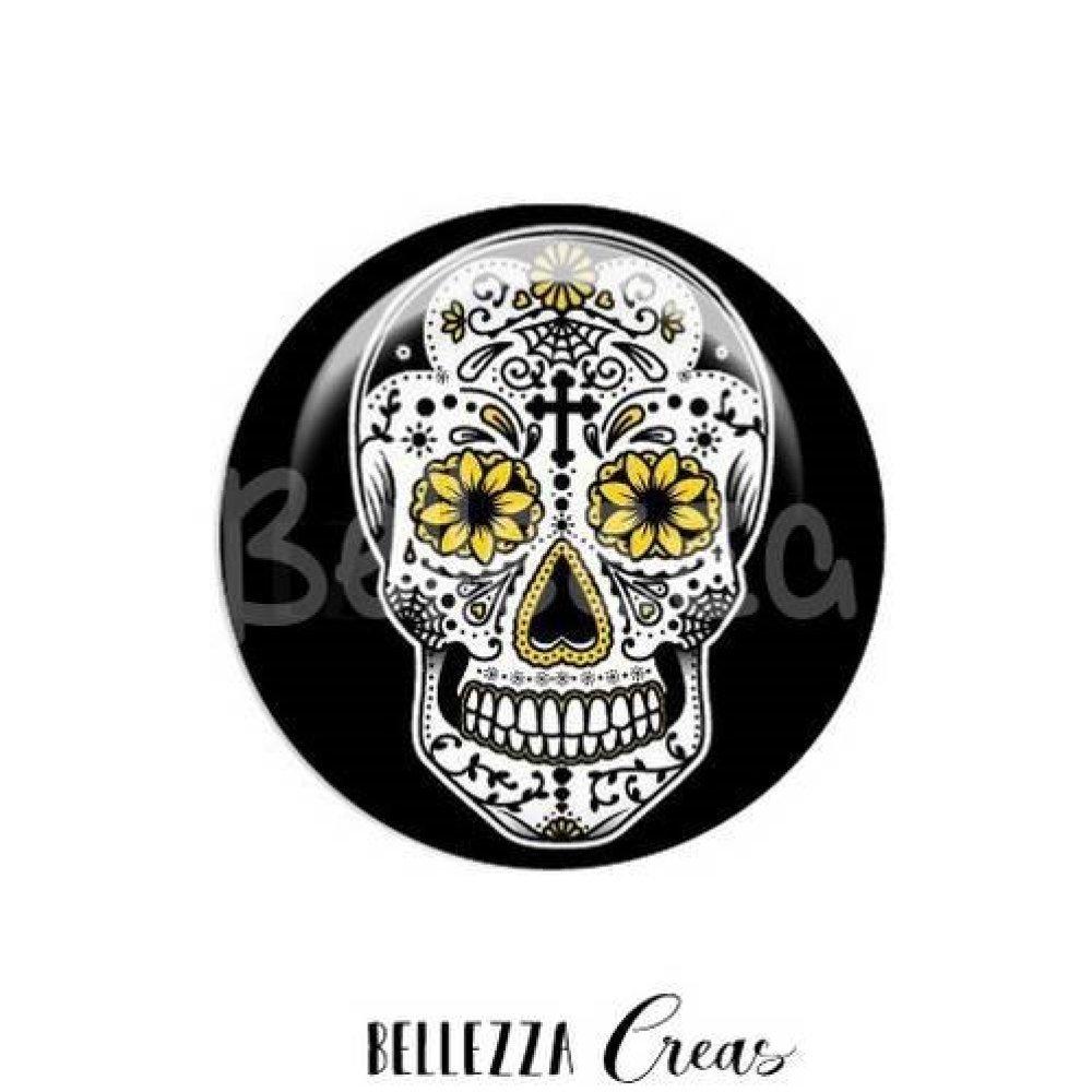 Cabochon verre 20 mm, x 2 pcs, tête de mort, skull, ref: 18794